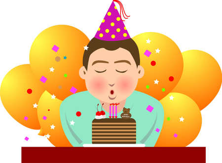 illustration, vector for a boy blowing candles in his birthday. Vector