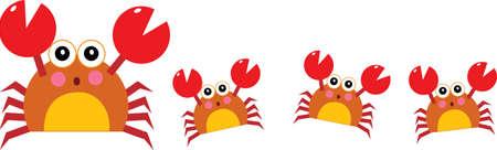 cangrejo caricatura: ilustración vectorial de un cangrejo madre y sus hijos caminando en una fila  Vectores