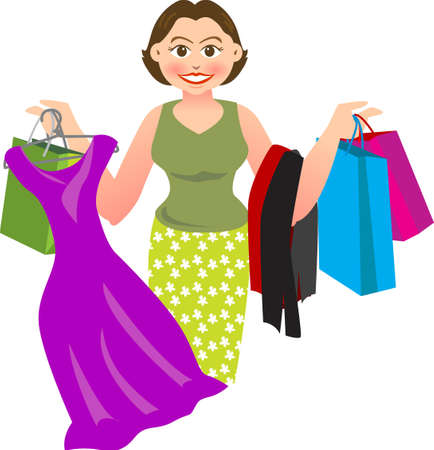 vector illustration for a woman is shopping and buying a lot of things. Illustration