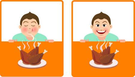 snuffelen: expressie voor een jongen ruikt de geur van gebraden kip en wensen van voedsel