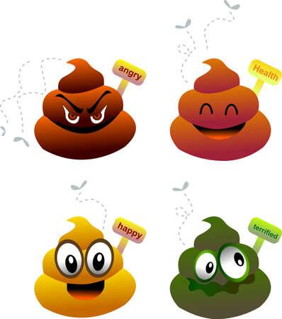 excrement: una serie di sterco cute icona per mostrare lo stato di salute  Vettoriali