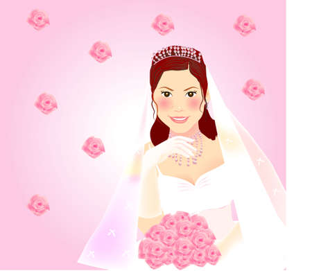 A beautiful bride holding a bouquet of pink rose with a romance mood Stock Vector - 3144308