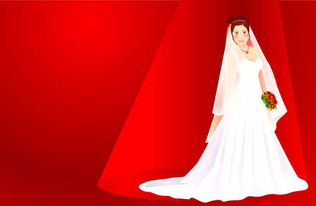A beautiful bride holding a bouquet of red roses standing on a red background Vector