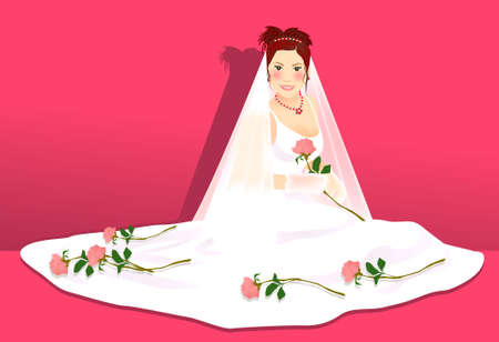 a illustration for a beautiful bride Vector