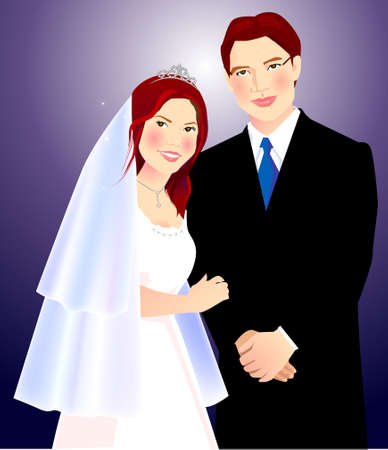 a illustration for wedding couple Vector