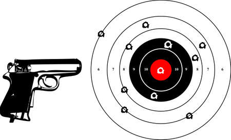 game gun: a vector illustration for a gun and a target with bullets holes Illustration