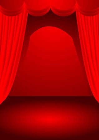 luz focal: una ilustraci�n vectorial para un escenario con tel�n rojo y la luz de spot.  Vectores
