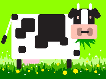 vector illustration for a square cow