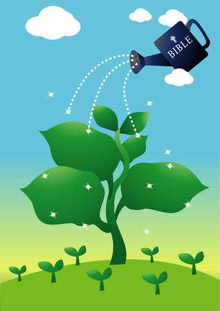 sayings: de hand van de woorden van God, net als water naar de plant ontspruiten. metafoor is voor religie.
