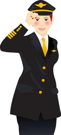 vector illustratie voor een vrouwelijke piloot luchtvaartmaatschappij met een groet
