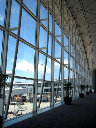 a corridor in Hong Kong airport