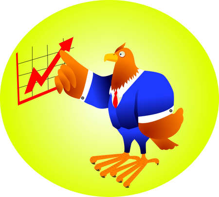 eagle in suit and pointing the chart, metaphor for leadership Vector