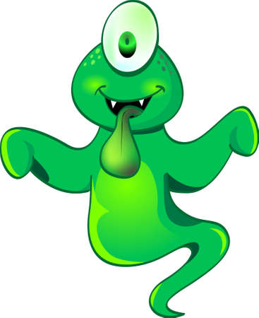 phantom: a cute one eye green ghost try to frighten people. Illustration