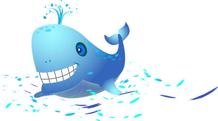 a happy whale is splashing water.  Stock Vector - 3612166