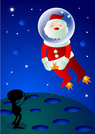 a Santa is sending a gift to a little alien in a space. Vector