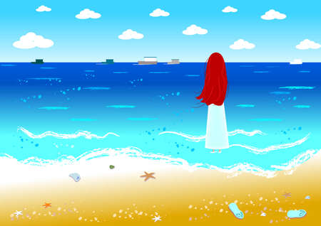 A girl is having fun on the seaside in a sunny day. Vector