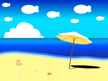 A peaceful seaside in a sunny day Vector