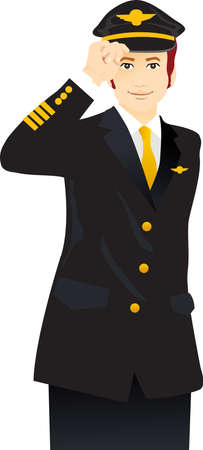 airline uniform: a handsome young airline pilot giving salute Illustration