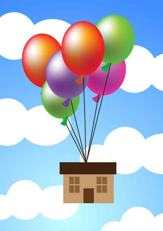 house fly: a house hanging up with balloons flying up to sky.