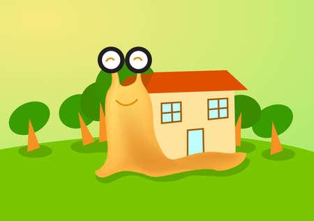 caracol: un caracol sonriendo tener una casa nueva en su caparazón. Vectores