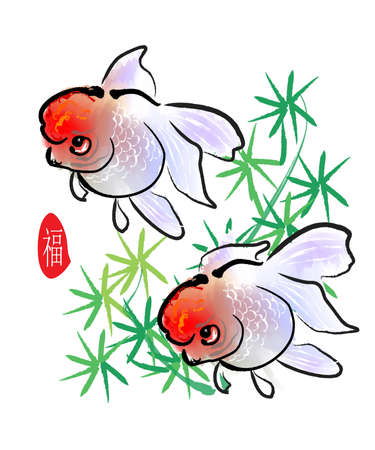 painting nature: chinese style traditional painting - gold fish