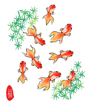 chinese style traditional painting - gold fish