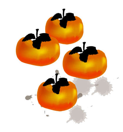 persimmon: chinese style traditional painting - Persimmon Stock Photo