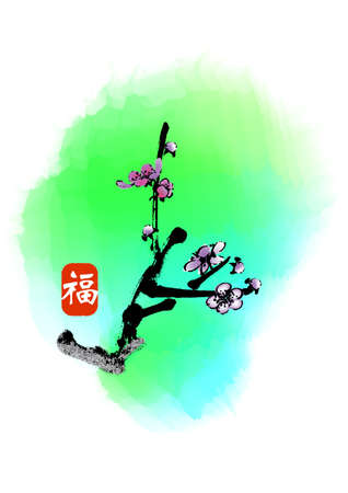 plum flower: chinese style traditional painting - plum flower