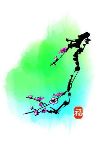 chinese style traditional painting - plum flower photo