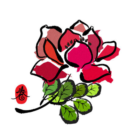 chinese style traditional painting - flower