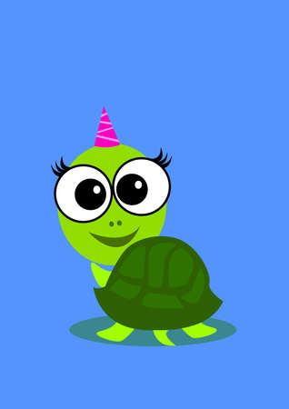 greet: a cute female turtle turn back and greet with you.