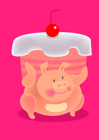 a fatty pig carry a giant cake on shoulders in pink background. photo