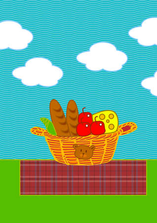 cloudy day: there are breads, apples and cheese in a picnic basket Stock Photo