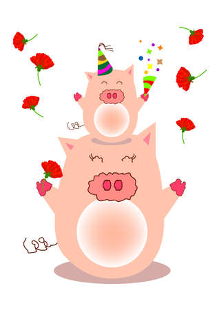 a piggy stand on mother head and throw all the carnation flowers from top. photo