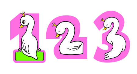 a series of numbering with Swan design in the number 1, 2, 3 photo