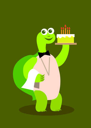 a turtle waiter holding a cake with candle. Stock Photo - 11197597