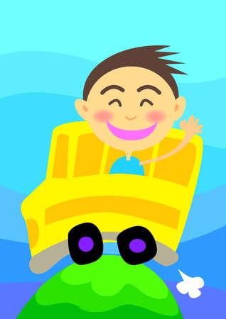 un muchacho joven va a la escuela en autob�s Foto de archivo - 11197612