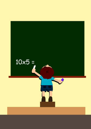 a boy step upper to answer the question on the black board in the classroom Stock Photo - 11197589