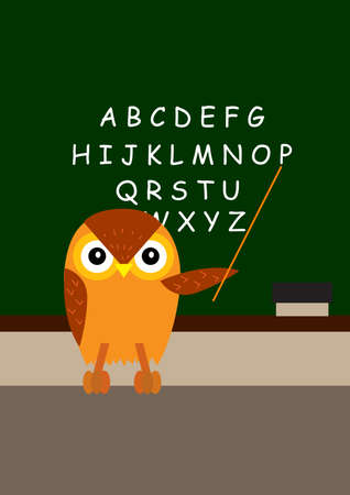 owl is teaching the alphabet a-z in the class room photo