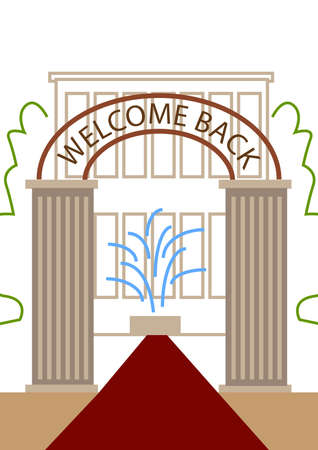 front gate: welcome back on the gate, in front of the door of the school
