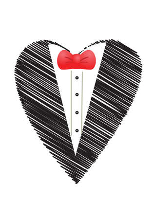 black suit with bow tie in love shape photo