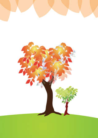taller: two love shape tree side by side. one is older and taller in orange leafs, other one younger and green leafs. Stock Photo