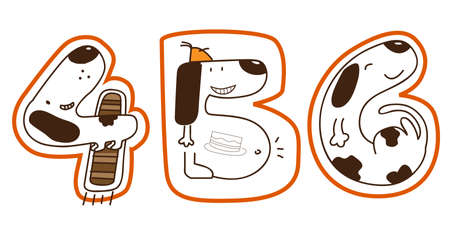 a series of doggy for a concept picture for number 4, 5, 6
