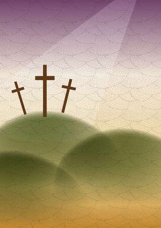 cruz religiosa: Una imagen religiosa de un brillo de luz en la cruz tres en la colina.