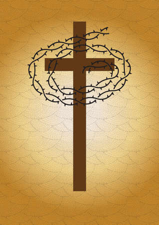 A religious crown of thorns on the cross on the brown sand background.