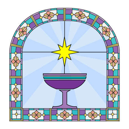 A window stain glass with picture of holy cup and star. Stock Photo