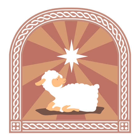 A window stain glass with picture of holy cup and sheep. Stock Photo