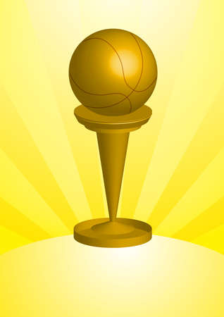 A golden solid basketball Awards and Trophy. Stock Photo
