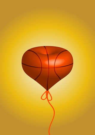 A solid love shape of basketball. passion love for sport.