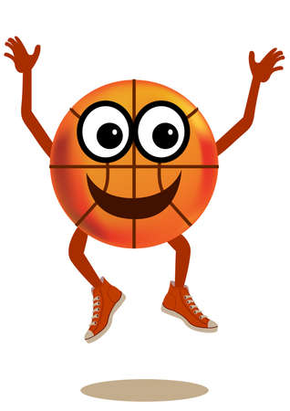 a happy and jumping basketball character cartoon.